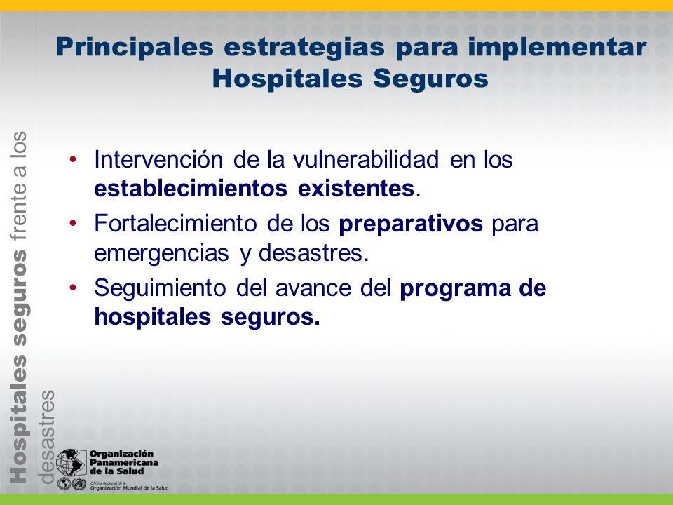 Hospitales seguros frente a los desastres Principales estrategias para implementar Hospitales Seguros Acuerdos políticos con autoridades, institucione