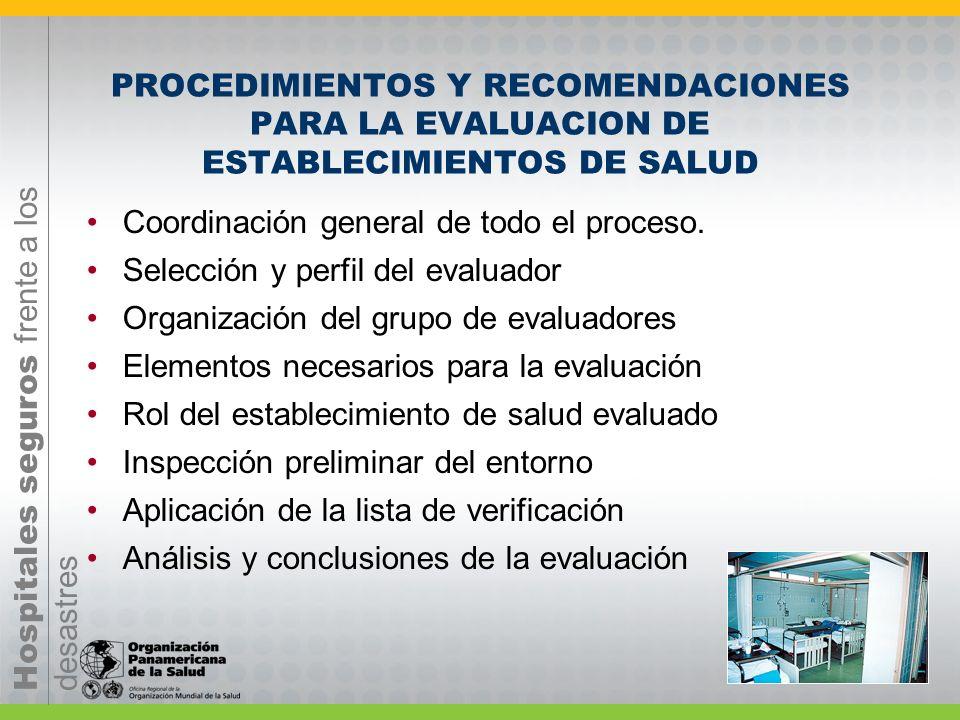 Hospitales seguros frente a los desastres EVALUACIÓN DE SEGURIDAD La evaluación de hospitales seguros tiene como objetivo asignar prioridad al fortale