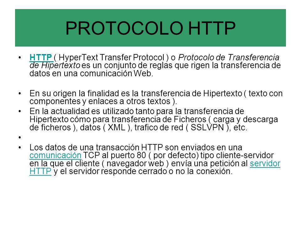 PROTOCOLO HTTP HTTP ( HyperText Transfer Protocol ) o Protocolo de Transferencia de Hipertexto es un conjunto de reglas que rigen la transferencia de datos en una comunicación Web.