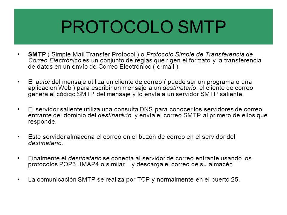 PROTOCOLO SMTP SMTP ( Simple Mail Transfer Protocol ) o Protocolo Simple de Transferencia de Correo Electrónico es un conjunto de reglas que rigen el formato y la transferencia de datos en un envío de Correo Electrónico ( e-mail ).