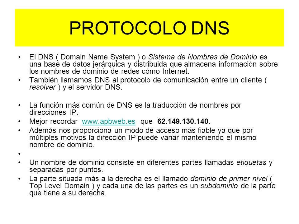 PROTOCOLO DNS El DNS ( Domain Name System ) o Sistema de Nombres de Dominio es una base de datos jerárquica y distribuida que almacena información sobre los nombres de dominio de redes cómo Internet.