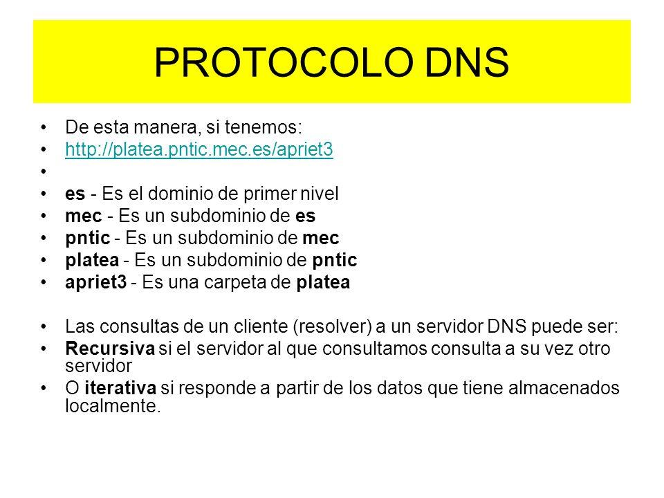 De esta manera, si tenemos: http://platea.pntic.mec.es/apriet3 es - Es el dominio de primer nivel mec - Es un subdominio de es pntic - Es un subdominio de mec platea - Es un subdominio de pntic apriet3 - Es una carpeta de platea Las consultas de un cliente (resolver) a un servidor DNS puede ser: Recursiva si el servidor al que consultamos consulta a su vez otro servidor O iterativa si responde a partir de los datos que tiene almacenados localmente.