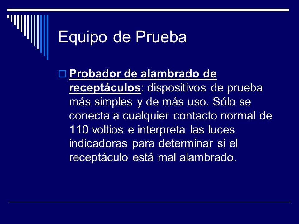 Equipo de Prueba Probador de alambrado de receptáculos: dispositivos de prueba más simples y de más uso. Sólo se conecta a cualquier contacto normal d