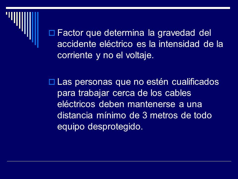 Factor que determina la gravedad del accidente eléctrico es la intensidad de la corriente y no el voltaje. Las personas que no estén cualificados para