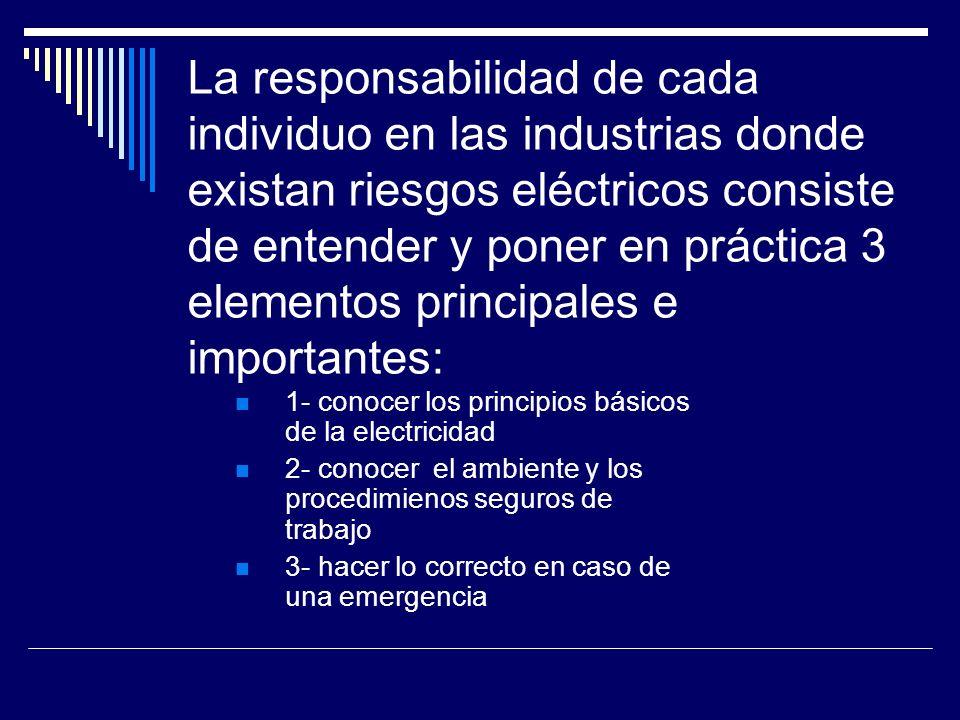 La responsabilidad de cada individuo en las industrias donde existan riesgos eléctricos consiste de entender y poner en práctica 3 elementos principal