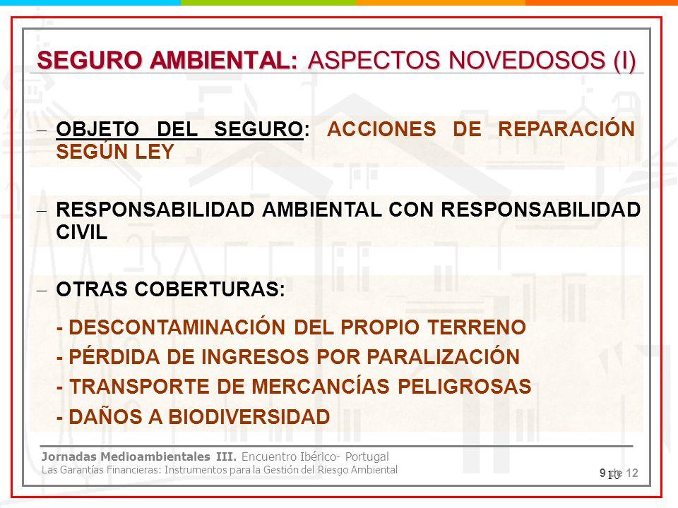 10 SEGURO AMBIENTAL: ASPECTOS NOVEDOSOS (I) OBJETO DEL SEGURO: OBJETO DEL SEGURO: ACCIONES DE REPARACIÓN SEGÚN LEY RESPONSABILIDAD AMBIENTAL CON RESPO