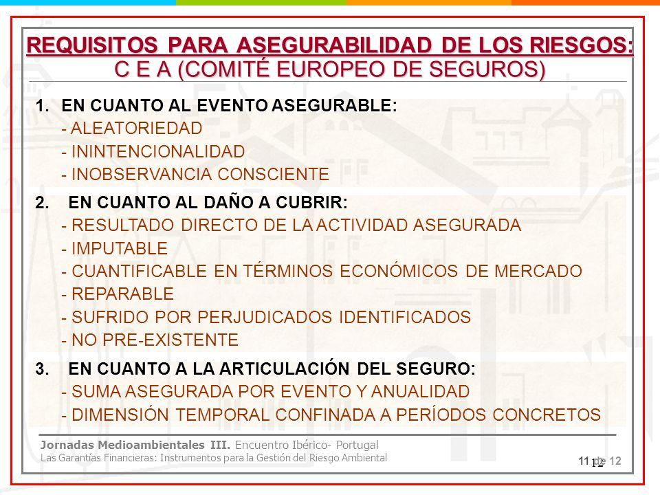 12 REQUISITOS PARA ASEGURABILIDAD DE LOS RIESGOS: C E A (COMITÉ EUROPEO DE SEGUROS) 1.EN CUANTO AL EVENTO ASEGURABLE: - ALEATORIEDAD - ININTENCIONALID