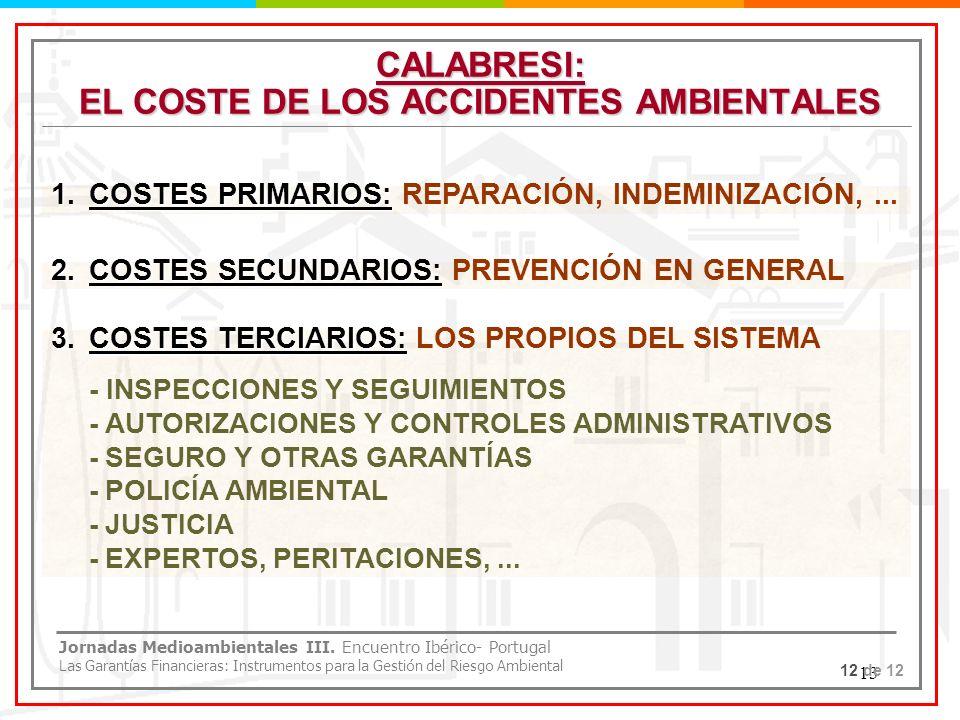 13 CALABRESI: EL COSTE DE LOS ACCIDENTES AMBIENTALES 1.COSTES PRIMARIOS: 1.COSTES PRIMARIOS: REPARACIÓN, INDEMINIZACIÓN,... 12 de 12 Jornadas Medioamb