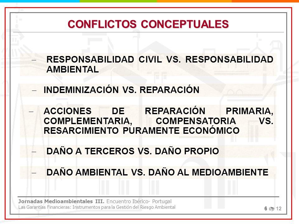 7 CONFLICTOS CONCEPTUALES RESPONSABILIDAD CIVIL VS. RESPONSABILIDAD AMBIENTAL RESPONSABILIDAD CIVIL VS. RESPONSABILIDAD AMBIENTAL INDEMINIZACIÓN VS. R