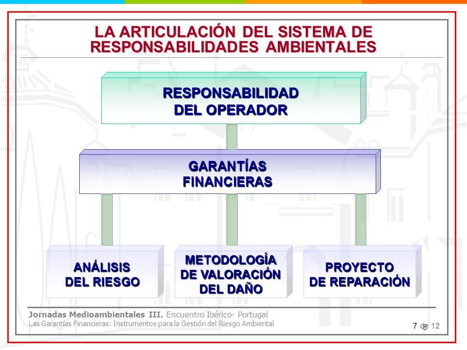 8 LA ARTICULACIÓN DEL SISTEMA DE RESPONSABILIDADES AMBIENTALES RESPONSABILIDAD DEL OPERADOR GARANTÍASFINANCIERAS ANÁLISIS DEL RIESGO METODOLOGÍA DE VA