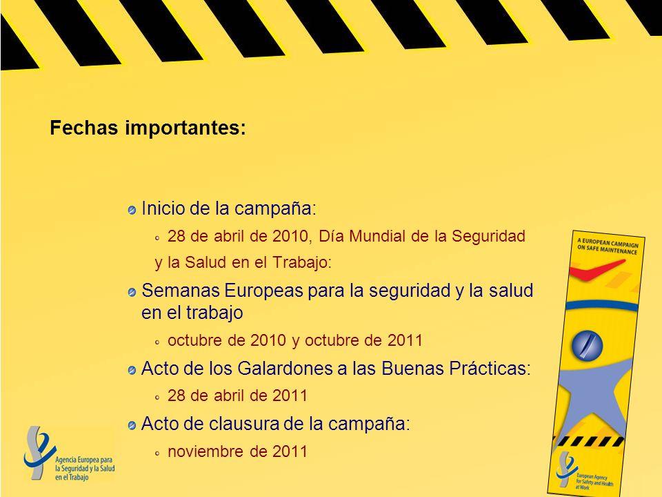 Fechas importantes: Inicio de la campaña: 28 de abril de 2010, Día Mundial de la Seguridad y la Salud en el Trabajo: Semanas Europeas para la segurida