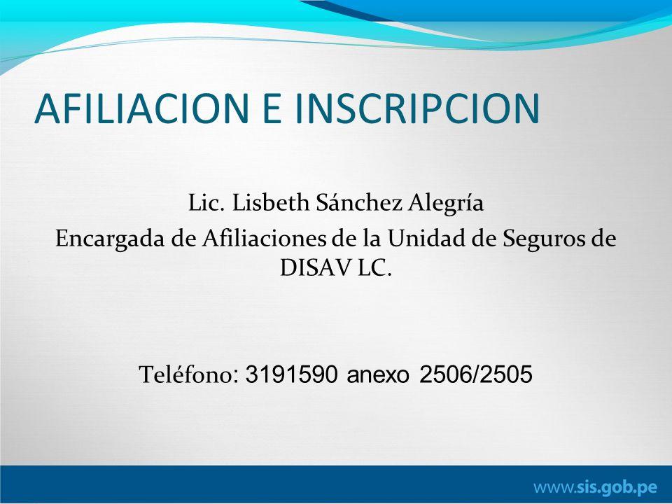 AFILIACION E INSCRIPCION Lic.