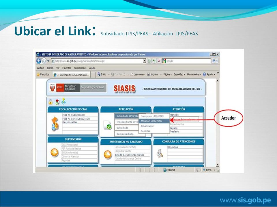 Ubicar el Link : Subsidiado LPIS/PEAS – Afiliación LPIS/PEAS