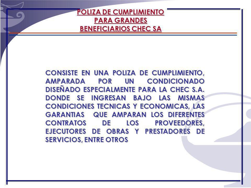 POLIZA MATRIZ PARA GRANDES BENEFICIARIOS SEGUROS DEL ESTADO S.A.