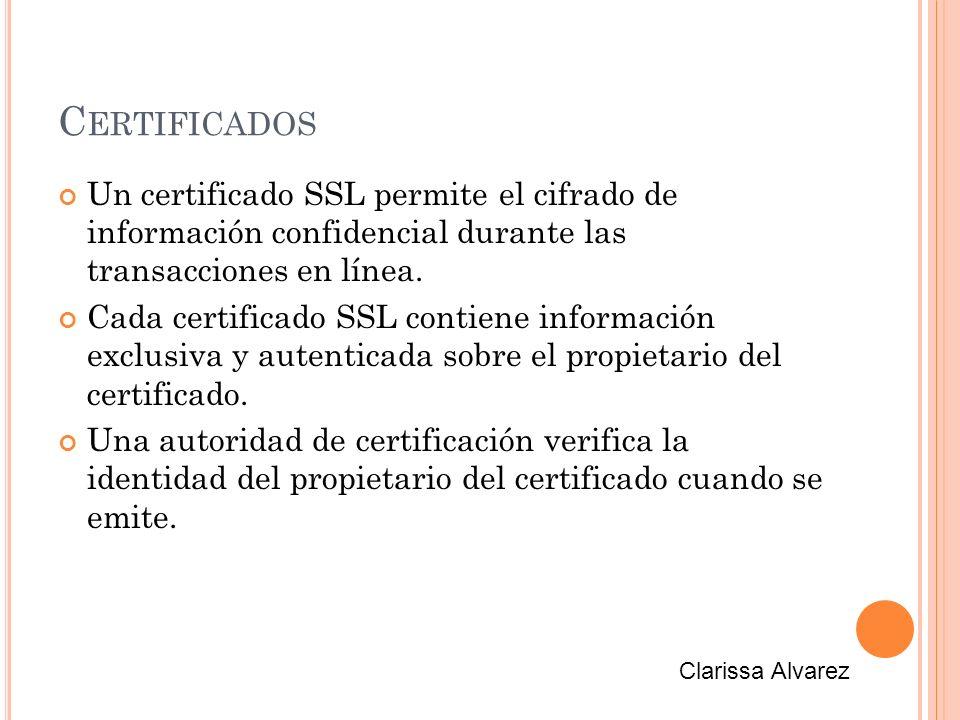 C ERTIFICADOS Un certificado SSL permite el cifrado de información confidencial durante las transacciones en línea.