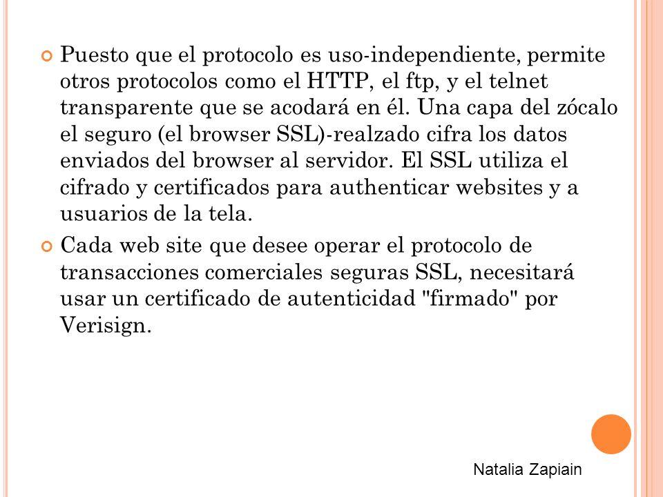 Puesto que el protocolo es uso-independiente, permite otros protocolos como el HTTP, el ftp, y el telnet transparente que se acodará en él.