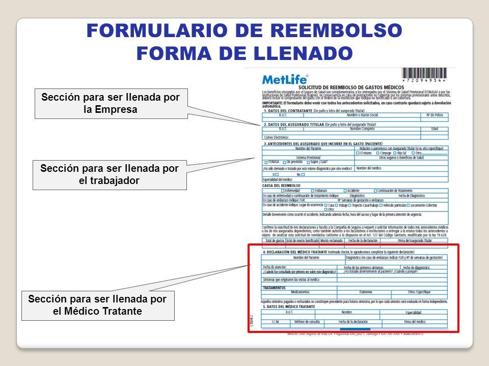 FORMULARIO DE REEMBOLSO FORMA DE LLENADO Sección para ser llenada por el trabajador Sección para ser llenada por la Empresa Sección para ser llenada p