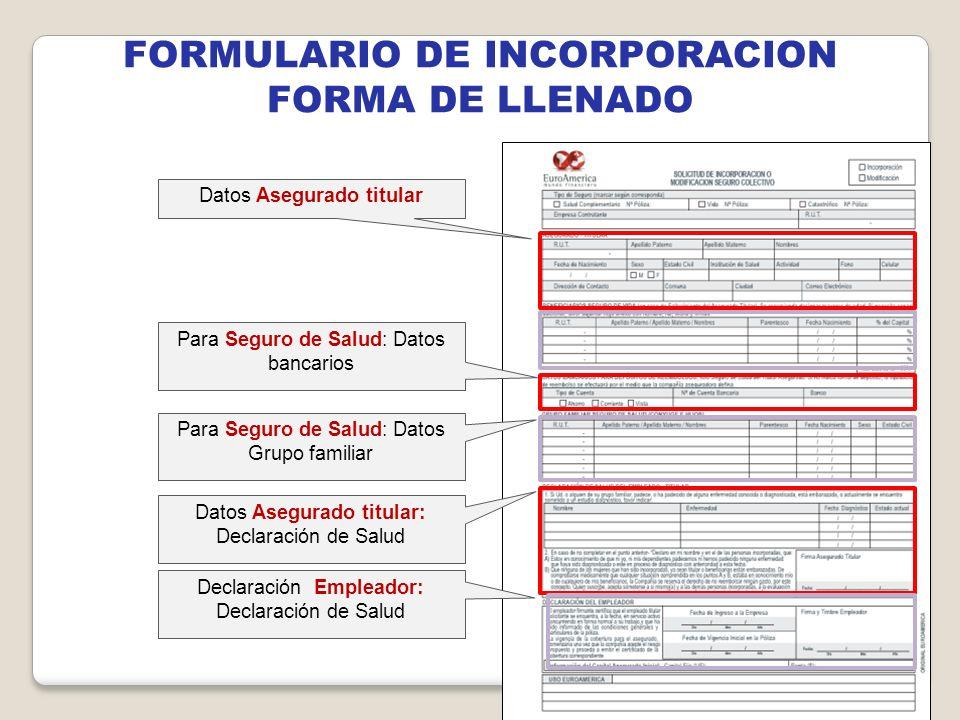 FORMULARIO DE INCORPORACION FORMA DE LLENADO Datos Asegurado titular Para Seguro de Salud: Datos bancarios Para Seguro de Salud: Datos Grupo familiar