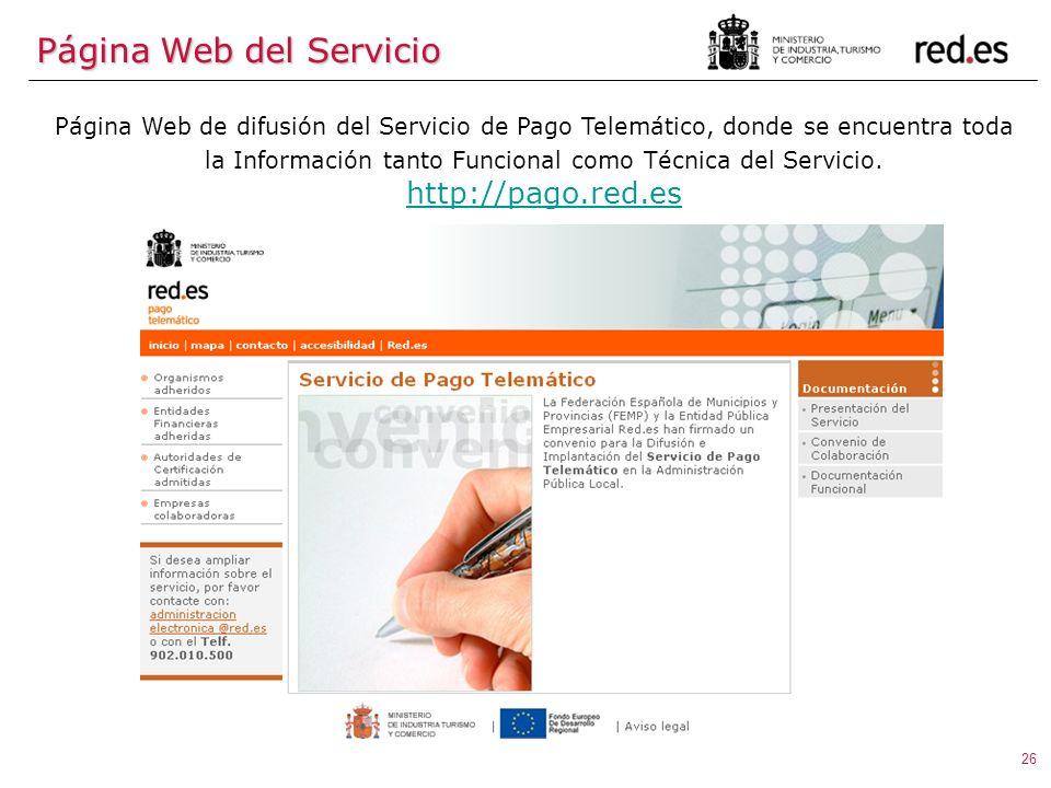 26 Página Web de difusión del Servicio de Pago Telemático, donde se encuentra toda la Información tanto Funcional como Técnica del Servicio.