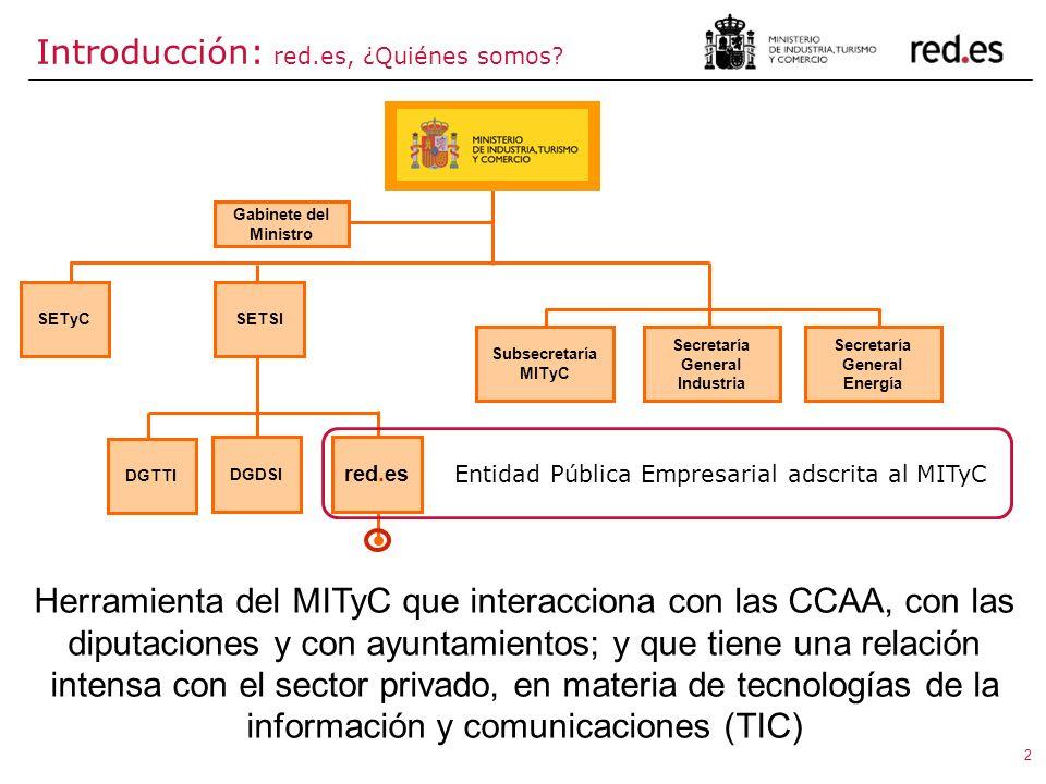 2 Herramienta del MITyC que interacciona con las CCAA, con las diputaciones y con ayuntamientos; y que tiene una relación intensa con el sector privad