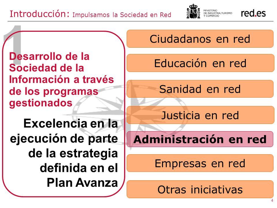 4 1 Excelencia en la ejecución de parte de la estrategia definida en el Plan Avanza Desarrollo de la Sociedad de la Información a través de los progra