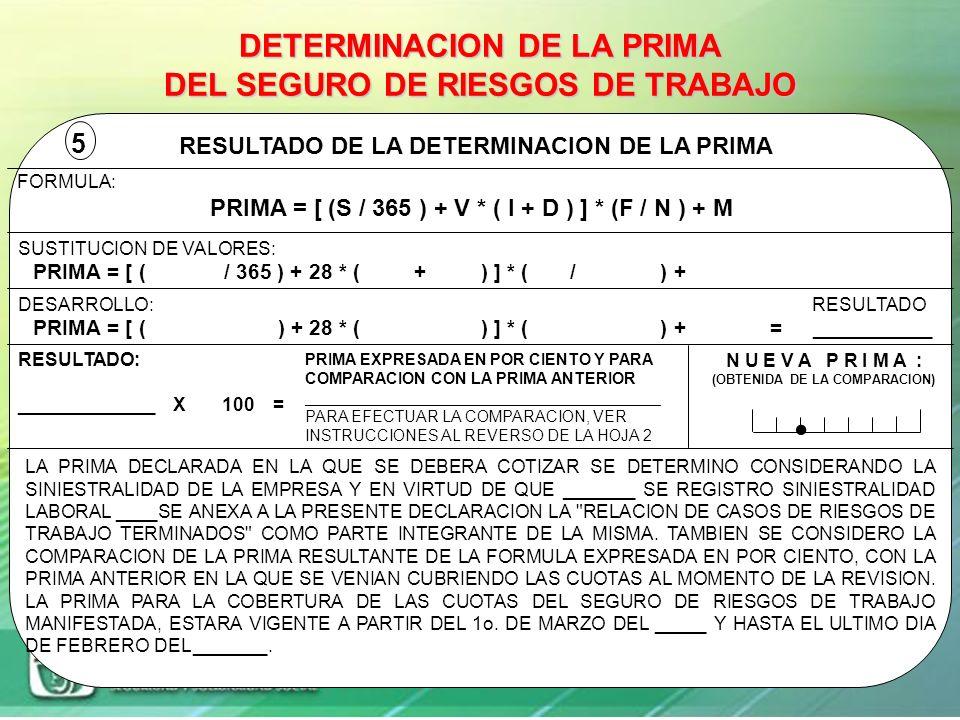 DATOS BASE PARA LA DETERMINACION DE LA PRIMA SINIESTRALIDAD LABORAL REGISTRADA EN LA EMPRESA DURANTE EL PERIODO DEL 1o. DE ENERO AL 31 DE DICIEMBRE DE