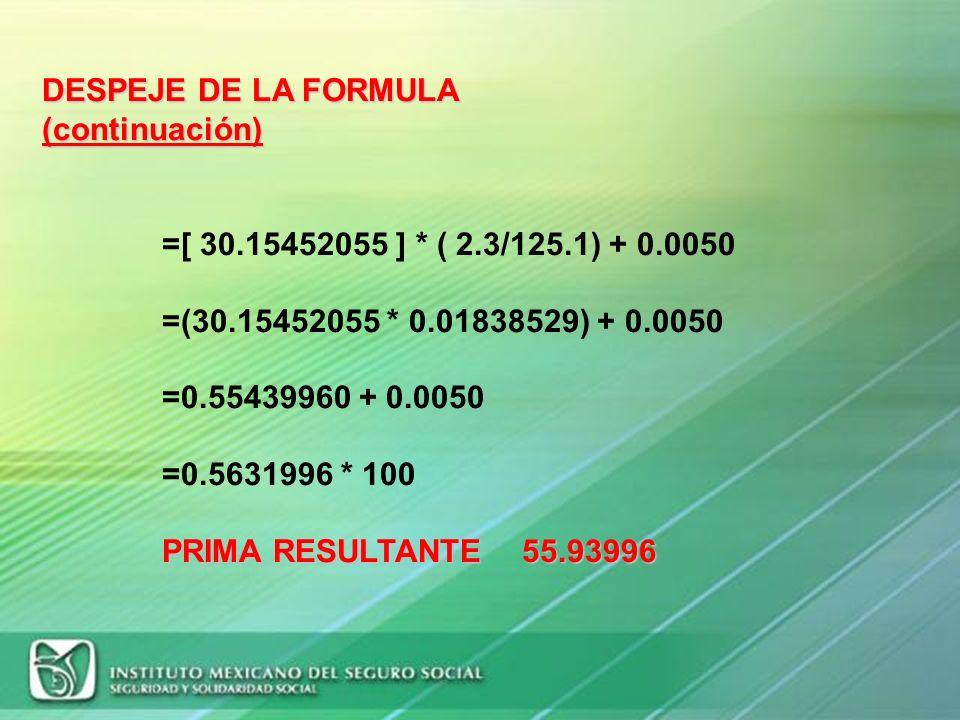 S=71 I= 0.07 D=1 N= 125.1 F= 2.3 M= 0.0050 DESPEJE DE LA FORMULA PRIMA PRIMA= (71/365) + 28 * (0.07 + 1) * ( 2.3/125.1) + 0.0050 =[(0.19452054) + 28 *