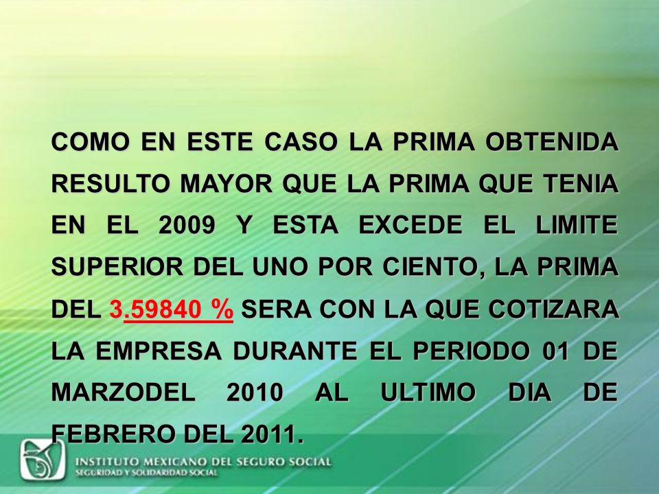 PRIMA OBTENIDA 55.87996 % 3.59840 % LIMITE SUPERIOR+ 1 3.59840 % PRIMA ACTUAL 2.59840 % LIMITE INFERIOR- 1 1.59840 % PRIMA CORRECTA3.59840 %