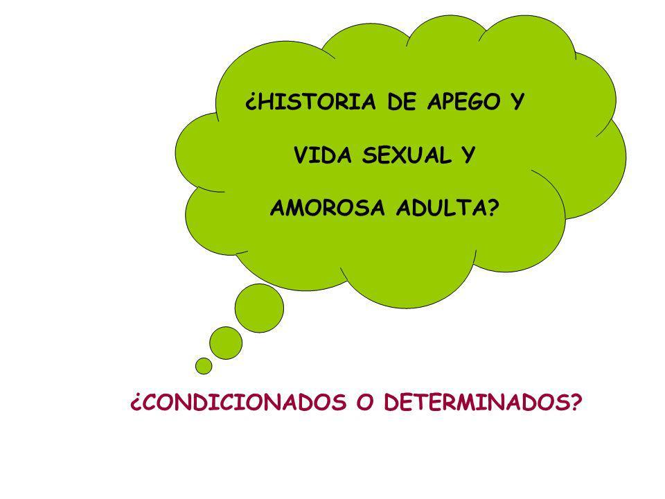 ¿HISTORIA DE APEGO Y VIDA SEXUAL Y AMOROSA ADULTA? ¿CONDICIONADOS O DETERMINADOS?