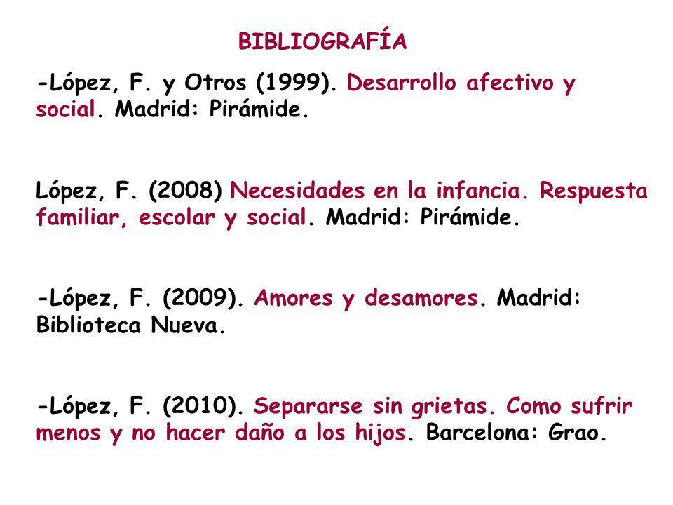 BIBLIOGRAFÍA -López, F. y Otros (1999). Desarrollo afectivo y social. Madrid: Pirámide. López, F. (2008) Necesidades en la infancia. Respuesta familia