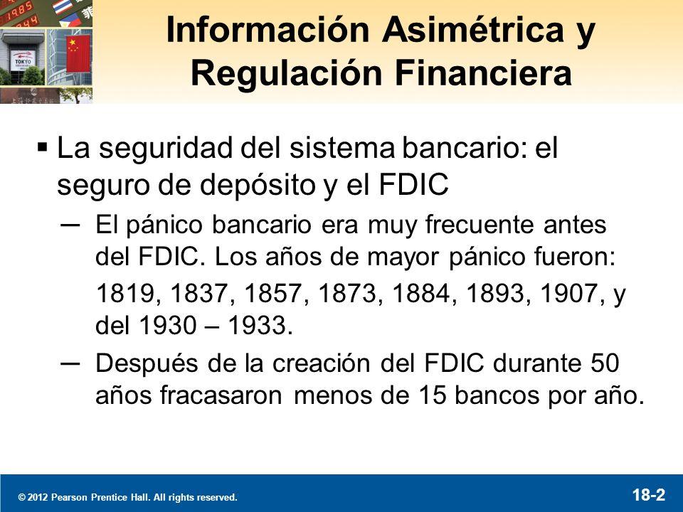 © 2012 Pearson Prentice Hall. All rights reserved. 18-3 Los Fracasos de Bancos en EE UU