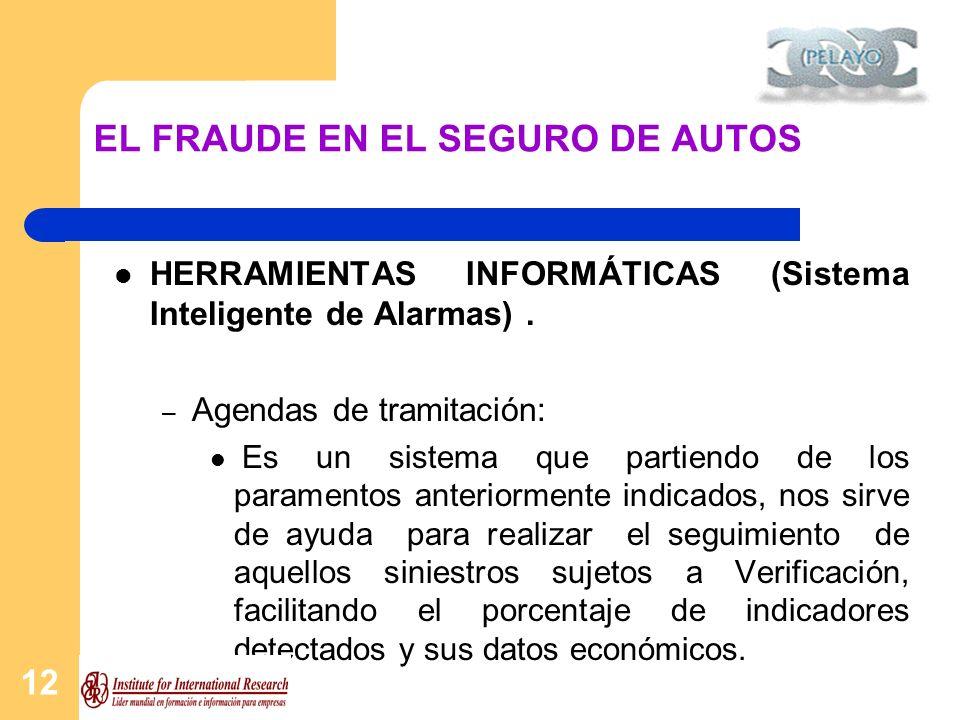 12 EL FRAUDE EN EL SEGURO DE AUTOS HERRAMIENTAS INFORMÁTICAS (Sistema Inteligente de Alarmas). – Agendas de tramitación: Es un sistema que partiendo d