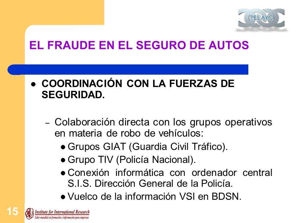 15 EL FRAUDE EN EL SEGURO DE AUTOS COORDINACIÓN CON LA FUERZAS DE SEGURIDAD. – Colaboración directa con los grupos operativos en materia de robo de ve