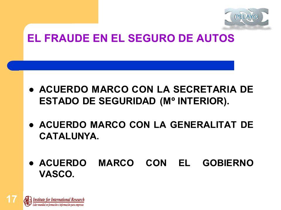 17 EL FRAUDE EN EL SEGURO DE AUTOS ACUERDO MARCO CON LA SECRETARIA DE ESTADO DE SEGURIDAD (Mº INTERIOR). ACUERDO MARCO CON LA GENERALITAT DE CATALUNYA