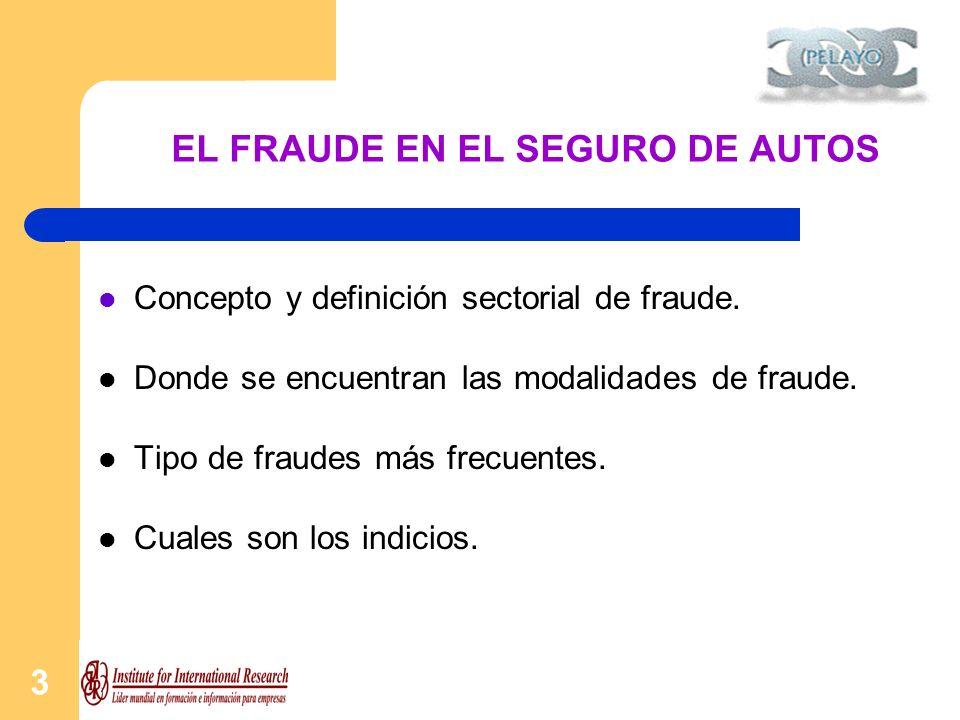 3 EL FRAUDE EN EL SEGURO DE AUTOS Concepto y definición sectorial de fraude. Donde se encuentran las modalidades de fraude. Tipo de fraudes más frecue