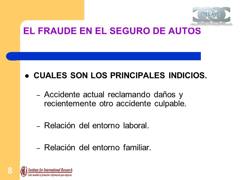 9 EL FRAUDE EN EL SEGURO DE AUTOS CUALES SON LOS PRINCIPALES INDICIOS.