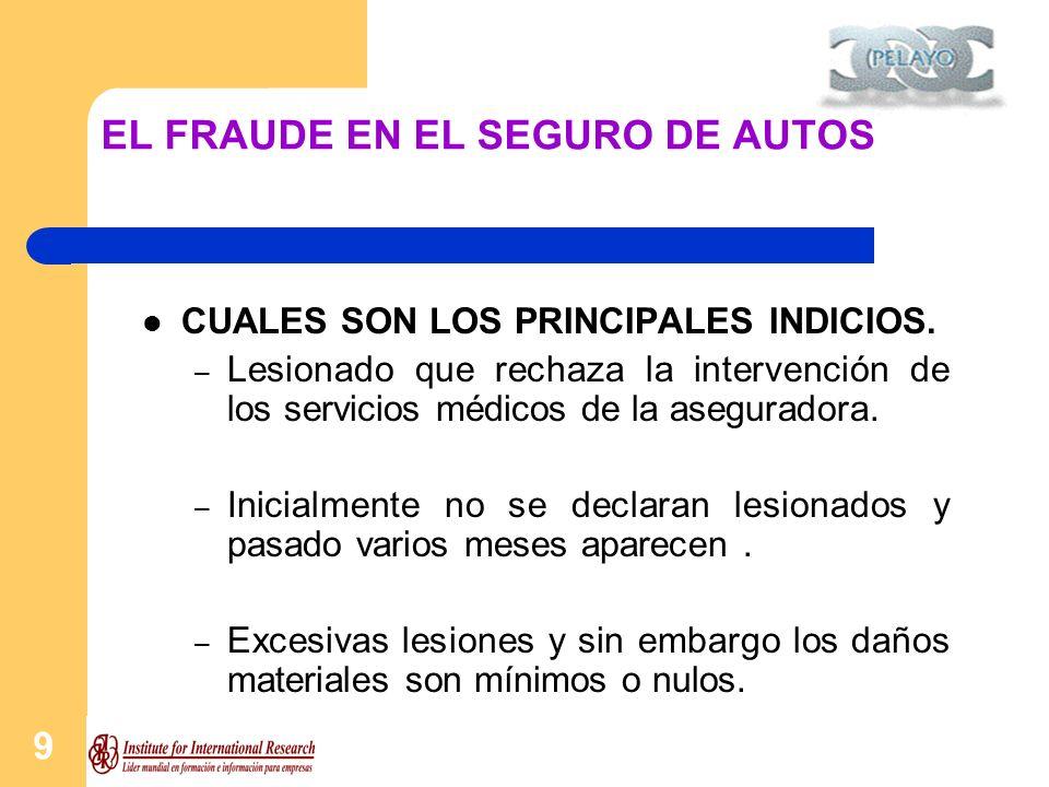 10 EL FRAUDE EN EL SEGURO DE AUTOS CUALES SON LOS PRINCIPALES INDICIOS.