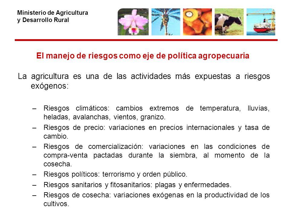 Ministerio de Agricultura y Desarrollo Rural El manejo de riesgos como eje de política agropecuaria La agricultura es una de las actividades más expuestas a riesgos exógenos: –Riesgos climáticos: cambios extremos de temperatura, lluvias, heladas, avalanchas, vientos, granizo.