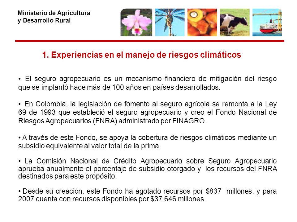 Ministerio de Agricultura y Desarrollo Rural 1.Experiencia en el manejo de riesgos climáticos Seguros climáticos 2004 Primer esquema de aseguramiento que se implementó en Colombia por daño directo a la planta por vientos fuertes.