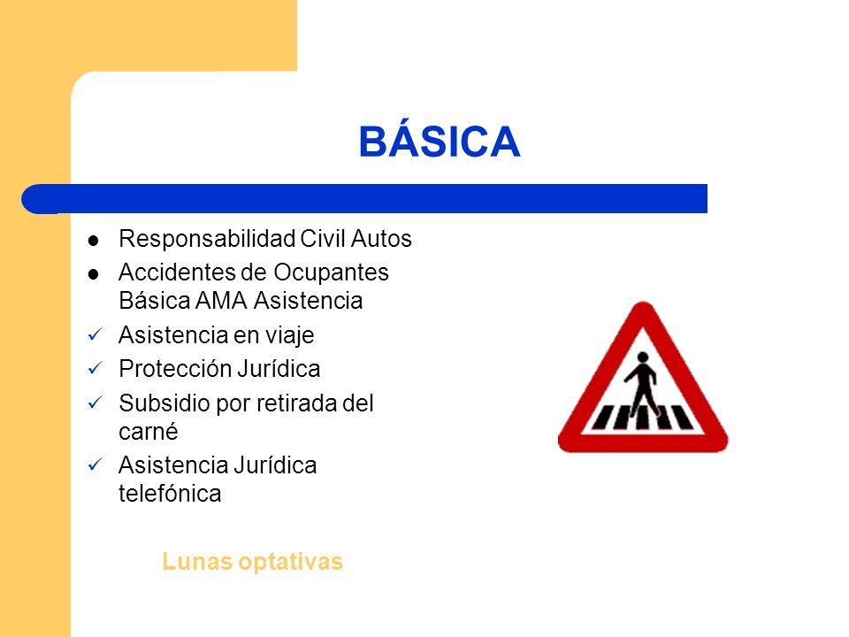 BÁSICA Responsabilidad Civil Autos Accidentes de Ocupantes Básica AMA Asistencia Asistencia en viaje Protección Jurídica Subsidio por retirada del carné Asistencia Jurídica telefónica Lunas optativas