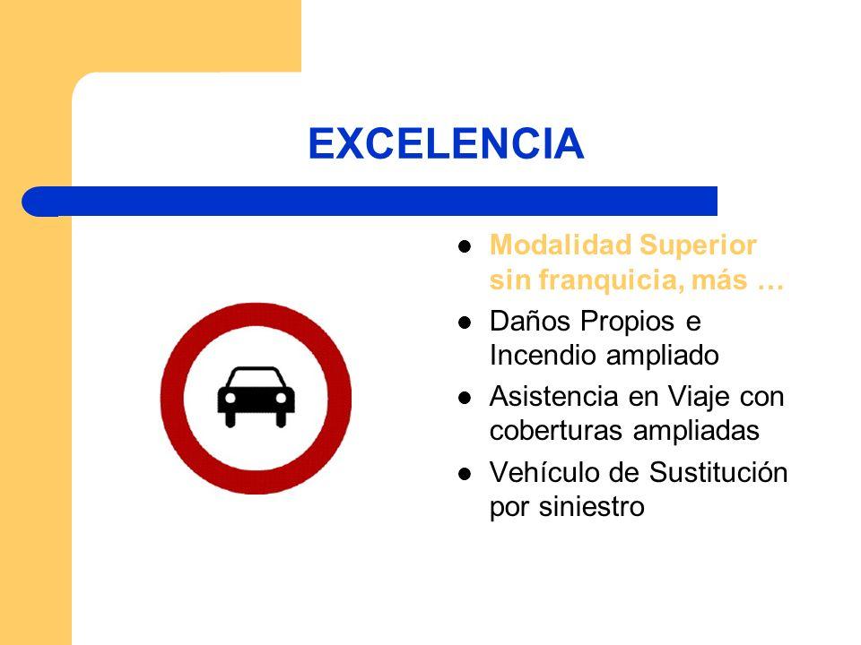 EXCELENCIA Modalidad Superior sin franquicia, más … Daños Propios e Incendio ampliado Asistencia en Viaje con coberturas ampliadas Vehículo de Sustitu