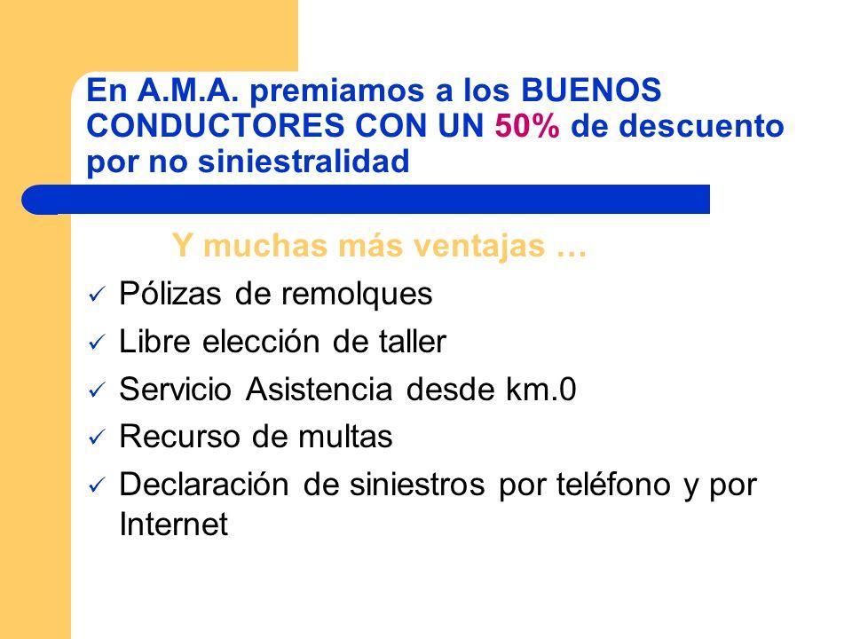 En A.M.A. premiamos a los BUENOS CONDUCTORES CON UN 50% de descuento por no siniestralidad Y muchas más ventajas … Pólizas de remolques Libre elección