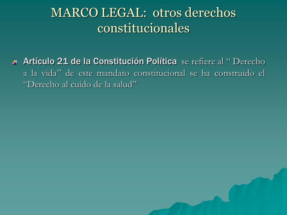 MARCO LEGAL: otros derechos constitucionales Artículo 21 de la Constitución Política se refiere al Derecho a la vida de este mandato constitucional se ha construido el Derecho al cuido de la salud