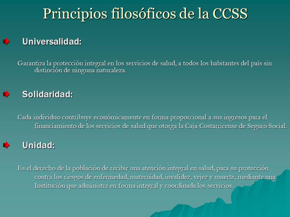 Principios filosóficos de la CCSS Universalidad: Garantiza la protección integral en los servicios de salud, a todos los habitantes del país sin distinción de ninguna naturaleza.