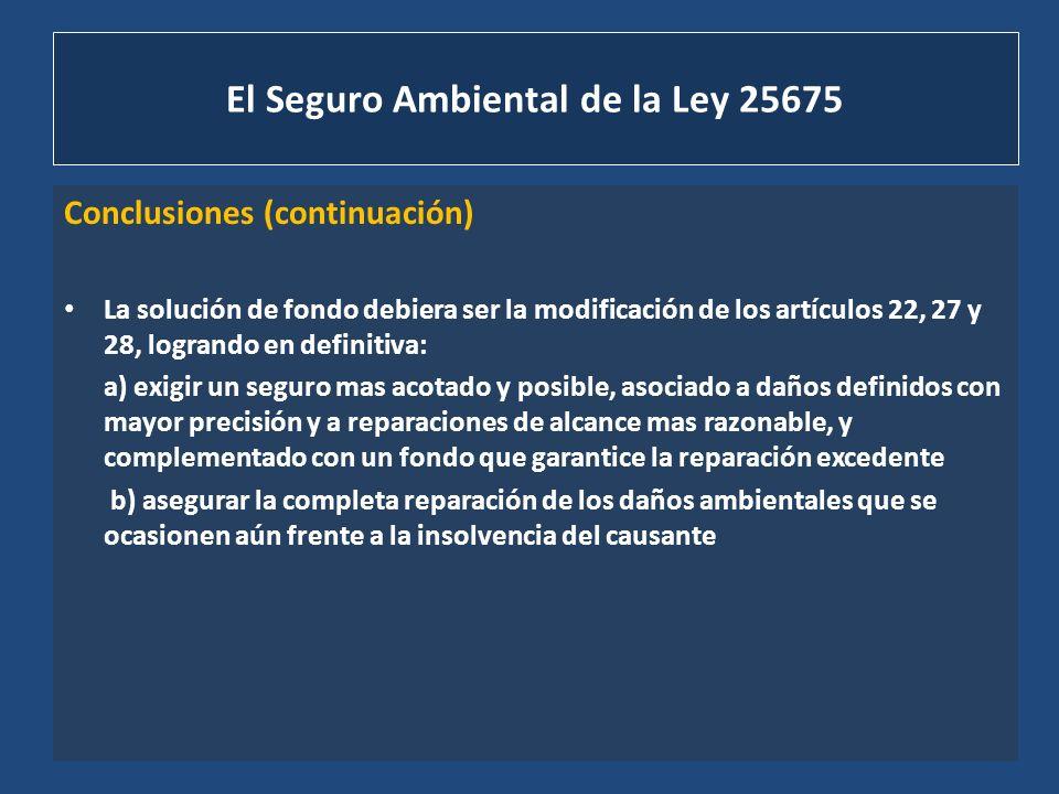 El Seguro Ambiental de la Ley 25675 Conclusiones (continuación) La solución de fondo debiera ser la modificación de los artículos 22, 27 y 28, logrand