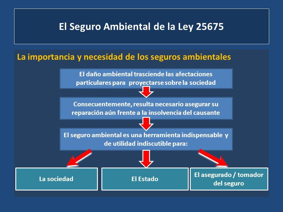 El Seguro Ambiental de la Ley 25675 La importancia y necesidad de los seguros ambientales El daño ambiental trasciende las afectaciones particulares p