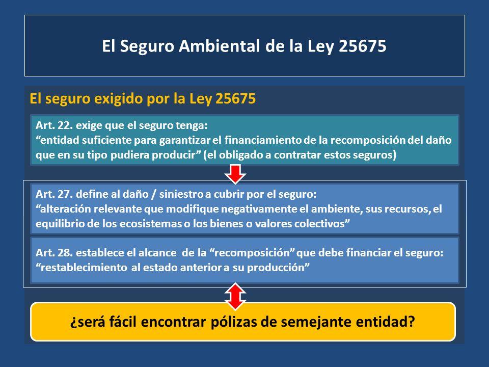 El Seguro Ambiental de la Ley 25675 El seguro exigido por la Ley 25675 Art. 22. exige que el seguro tenga: entidad suficiente para garantizar el finan