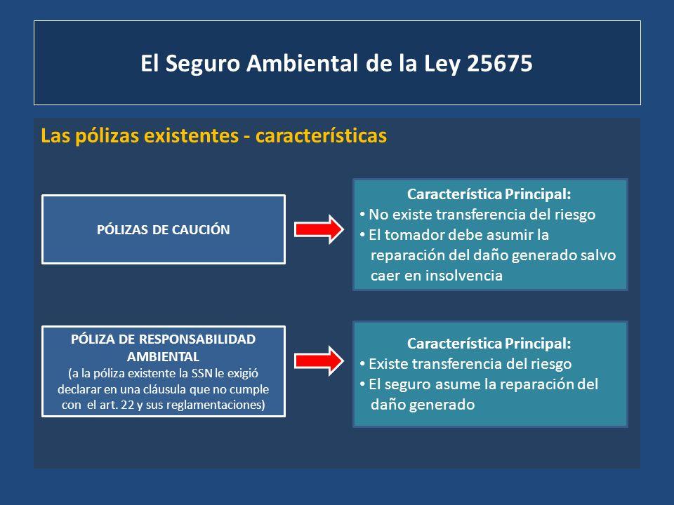 El Seguro Ambiental de la Ley 25675 Las pólizas existentes - características PÓLIZAS DE CAUCIÓN PÓLIZA DE RESPONSABILIDAD AMBIENTAL (a la póliza exist
