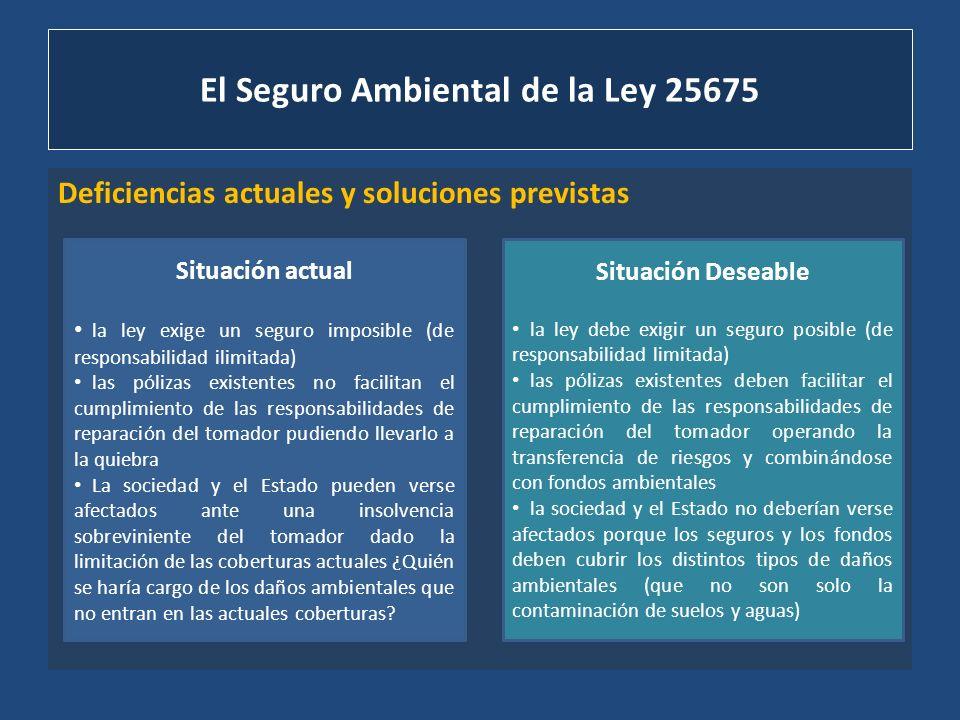 El Seguro Ambiental de la Ley 25675 Actitudes del Estado frente a la situación existente ACTITUD QUE ENTIENDE QUE LO EXISTENTE EN EL MERCADO CUBRE LA EXIGENCIA LEGAL Y SOLO RESTA EXIGIR SU CONTRATACIÓN ACTITUD QUE ENTIENDE QUE LO EXISTENTE EN EL MERCADO NO ES SUFICIENTE DEBIENDO AMPLIARSE LA OFERTA Y LA REGULACIÓN (Juez de Quilmes – COFEMA)
