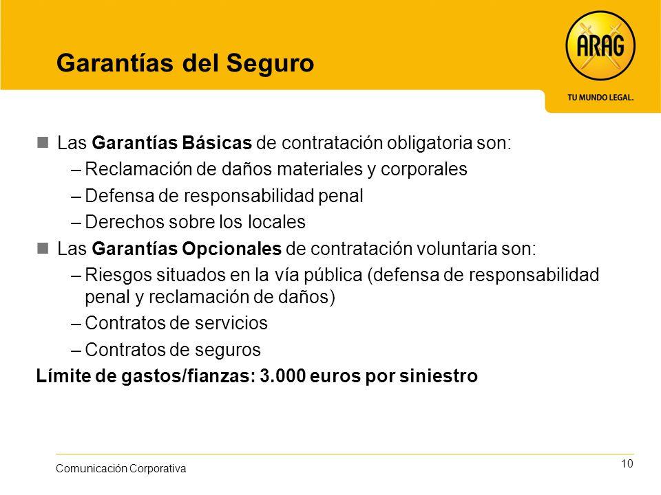 10 Comunicación Corporativa Garantías del Seguro Las Garantías Básicas de contratación obligatoria son: –Reclamación de daños materiales y corporales